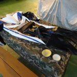 革ツナギの補正出来上がりと保革剤の塗布